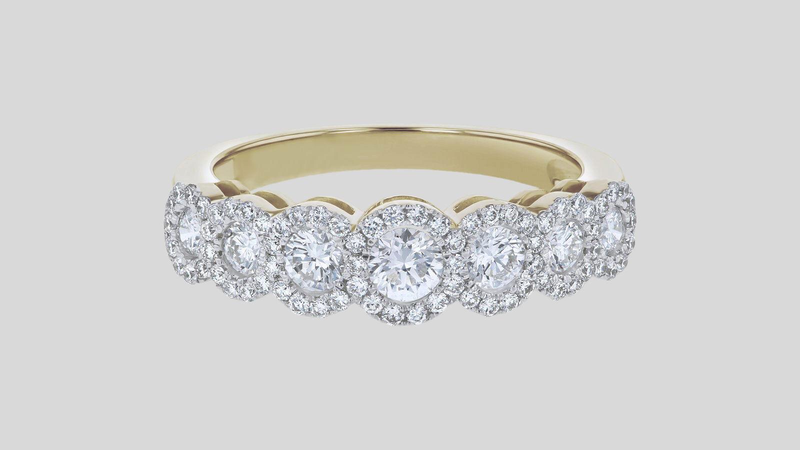 The Round Diamond Halo Half Band Ring