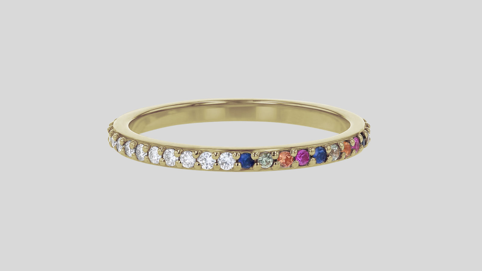 The Half White Diamond Half Multi-Color Sapphire Eternity Band Ring